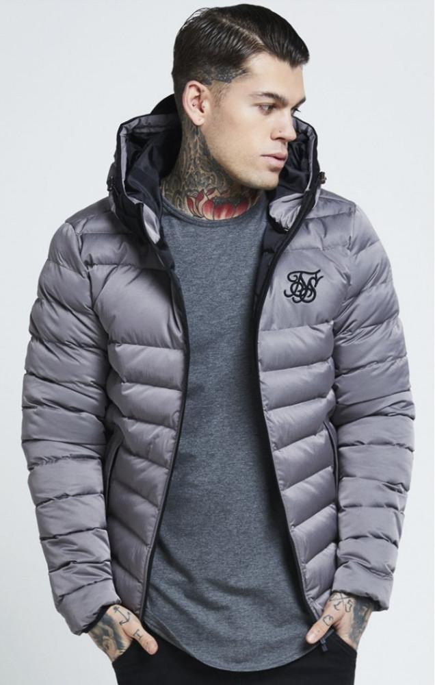SIK SILK Pánska bunda SikSilk  Target Jacket – Grey