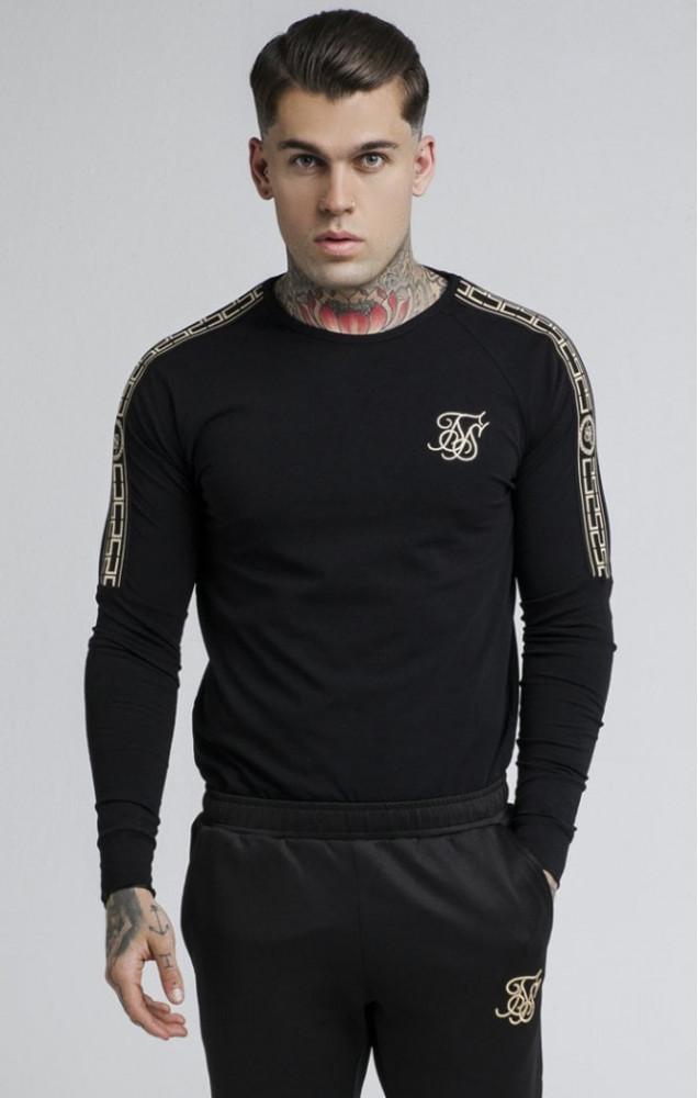 SIK SILK Pánske tričko s dlhým rukávom SikSilk Cartel L/S Gym Tee – Black