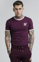 SIK SILK Pánske tričko SikSilk S/S Ringer Gym Tee – Burgundy