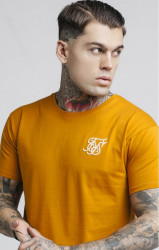 SIK SILK Pánske tričko SikSilk S/S Curved Hem Tee – Rich Orange