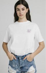 SIK SILK Dámske tričko SikSilk Retro Box Fit Tee – White