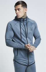 SIK SILK Pánska mikina SikSilk Athlete Zip Through Hoodie – Aqua Grey