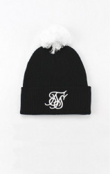 SIK SILK Zimná čiapka SikSilk Cuff Knit Bobble Hat – Black & White