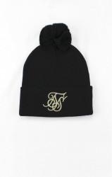 SIK SILK Zimná čiapka SikSilk Cuff Knit Bobble Hat – Black & Gold