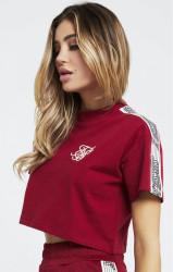 SIK SILK Dámske crop top tričko SikSilk Runner Crop Tee – Red