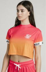 SIK SILK Dámske crop top tričko SikSilk Fade Tape Crop Tee – Orange & Pink