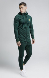 SIK SILK Pánska mikina SikSilk Zip Through Zonal Hoodie – Rich Green