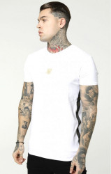 SIK SILK Pánske tričko SikSilk S/S Side Tape Tee – White & Gold