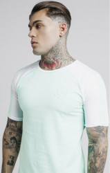 SIK SILK Pánske tričko SikSilk S/S Raglan Contrast Ringer Gym Tee – Mint