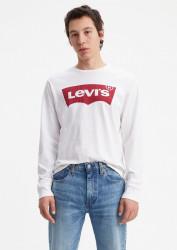 LEVIS Pánske biele tričko s dlhým rukávom Levi´s® LS Graphic