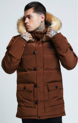 SIK SILK Pánska bunda SikSilk  Puff Parka Jacket – Biscuit Brown