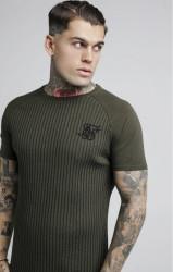 SIK SILK Pánske tričko SikSilk Rib Knit S/S Tee – Khaki
