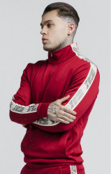 SIK SILK Pánska mikina SikSilk Quarter Zip Runner Top – Red