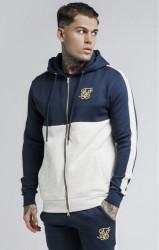 SIK SILK Pánska mikina SikSilk Cut & Sew Taped Zip Through Hoodie – Navy & Snow Marl