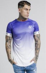 SIK SILK Pánske tričko SikSilk S/S Raglan Fade Tech Tee – Purple & White