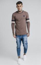 SIK SILK Pánske tričko s dlhým rukávom SikSilk L/S Tournament Tee – Rust