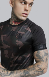 SIK SILK Pánske tričko SikSilk Raglan Tech Tee – Camo