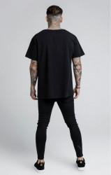 SIK SILK Pánske tričko SikSilk S/S Reverse Collar Tee – Black #3