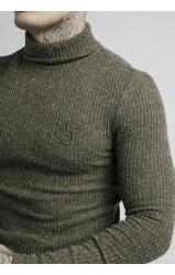 SIK SILK Pánsky sveter SikSilk Turtle Neck L/S Jumper – Khaki