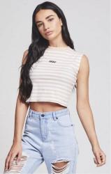 SIK SILK Dámske crop top tričko SikSilk Retro Stripe Crop Vest– Beige & White