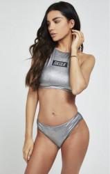 SIK SILK Dámske plavky SikSilk Box Logo High Tie Bikini Top – Metallic Silver
