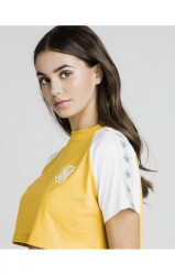 SIK SILK Dámske crop top tričko SikSilk Contrast Taped Tee – Mustard & White