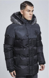 SIK SILK Pánska bunda SikSilk Reflective Upper Puff Parka – Black