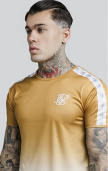 SIK SILK Pánske tričko SikSilk S/S Taped Fade Gym Tee – Gold Mustard