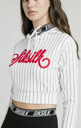 SIK SILK Dámska crop top mikina SikSilk Baseball Cropped Hoodie – White