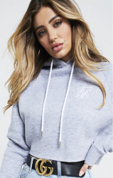 SIK SILK Dámska crop top mikina SikSilk Raw Hem Cropped Raglan Hoodie – Grey Marl