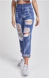 SIK SILK Dámske potrhané rifle SikSilk Bleach Flicker R.I.P Mom Jeans – Dark Indigo