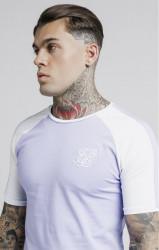 SIK SILK Pánske tričko SikSilk S/S Raglan Contrast Ringer Gym Tee – Grape