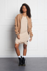 Bombera Sixth June Femme Suede Oversized Sand