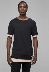 CAYLER SONS Pánske tričko C&S CSBL Deuces Long Layer Tee Farba: black/pale peach, Grösse: XS