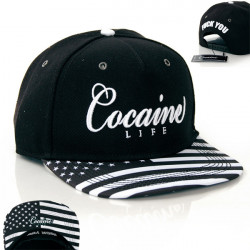 Cocaine Life Stars & Stripes Black White Snapback - UNI