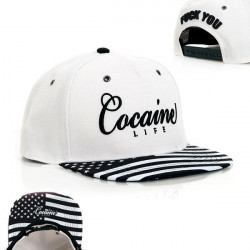 Cocaine Life Stars & Stripes White Black Snapback - UNI