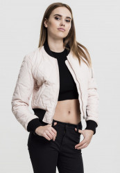 Dámska bombera Urban Classics Diamond Quilt Short light pink