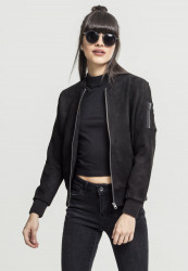 Dámska bombera URBAN CLASSICS LADIES IMITATION SUEDE BOMBER JACKET BLACK
