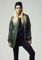 Dámska bunda bomber URBAN CLASSICS LADIES LONG BOMBER JACKET OLIVE