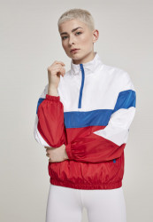Dámska Bunda Urban Classics Ladies 3-Tone Stand Up Collar Pull Over Jacket white/firered/brightblue