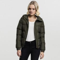 Dámska bunda Urban Classics Ladies Hooded Puffer Jacket olive