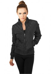 Dámska čierna bombera URBAN CLASSICS LADIES DIAMOND QUILT NYLON JACKET