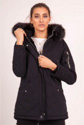Dámska čierna bunda na zimu Sixth June Lining Fur Parka