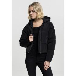 Dámska čierna bunda s kapucňou Urban Classics