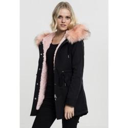Dámska čierno ružová bunda s kožušinovou kapucňou Urban Classics