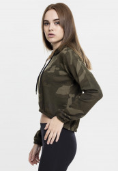 Dámska crop top mikina URBAN CLASSICS Ladies Camo Cropped Hoody #1