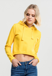 Dámska crop top mikina URBAN CLASSICS Ladies Interlock Short Hoody chrome yellow