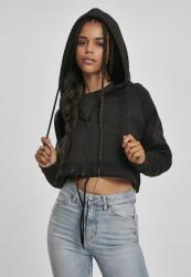 Dámska crop top mikina URBAN CLASSICS Ladies Oversized Short Raglan Zip Hoody čierna