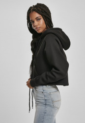 Dámska crop top mikina URBAN CLASSICS Ladies Oversized Short Raglan Zip Hoody čierna #1