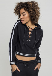 Dámska crop top mikina URBAN CLASSICS Ladies Short Lace Up Hoody black